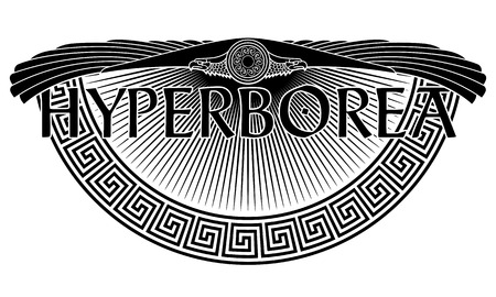 The winged eagle, the solar symbol, the ancient European ornament and the inscription Hyperborean - the legendary mythical island, isolated on white, vector illustration