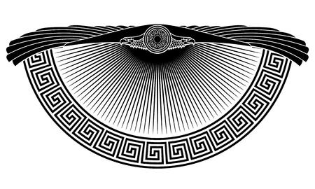 L'aquila alata, il simbolo solare, l'antico ornamento europeo, isolato su bianco, illustrazione vettoriale Vettoriali