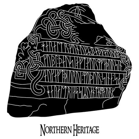 Ancient runestone with engraved Scandinavian pattern and runes, isolated on white, vector illustration