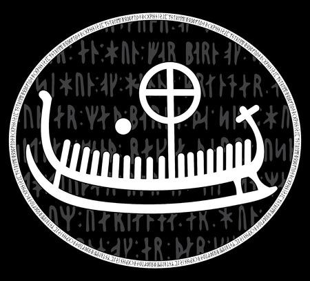Ancient runestone with engraved Scandinavian pattern, drakkar, isolated on black, vector illustration