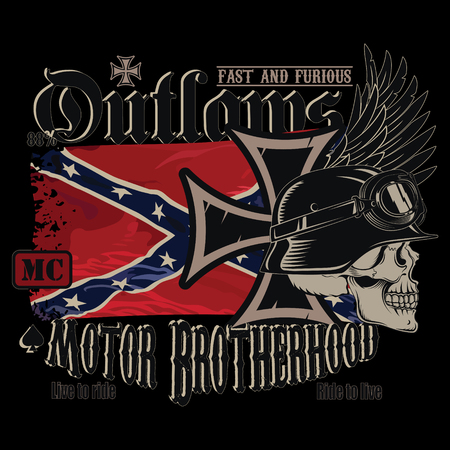 Motorcycle club emblem, iron cross, a human skull in a German helmet and the developing Confederate flag