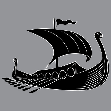 An ancient Scandinavian image of a Viking ship decorated with a dragon head, isolated on white, vector illustration
