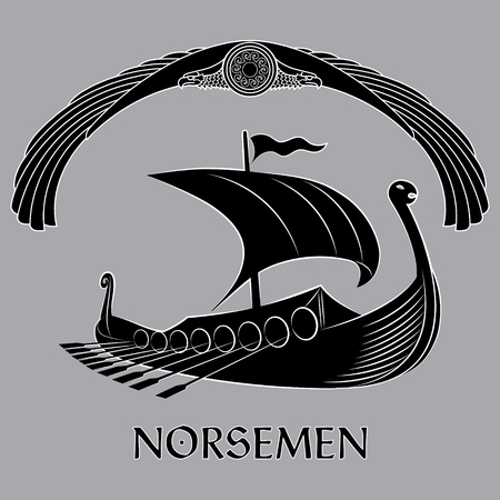 An ancient Scandinavian image of a Viking ship, decorated with a dragons head, an ancient symbol of the sun and a winged eagle, isolated on white, vector illustration