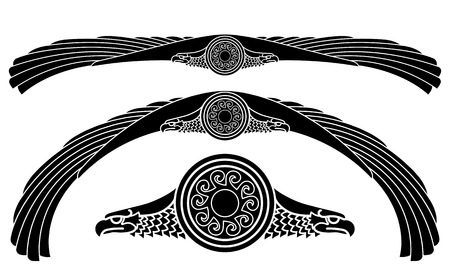 The winged eagle and the solar symbol, isolated on white, vector illustration Illustration