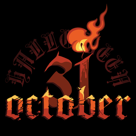 Halloween, October thirty-first lettering with burning candle, isolated on black, vector illustration Ilustrace