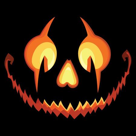 Scary Halloween Pumpkin with a Scary Jack O Lantern smile on Black Background Reklamní fotografie