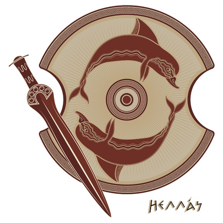 Ancient Hellenic sword, ancient greek shield, the image of a Dolphin and greek ornament meander