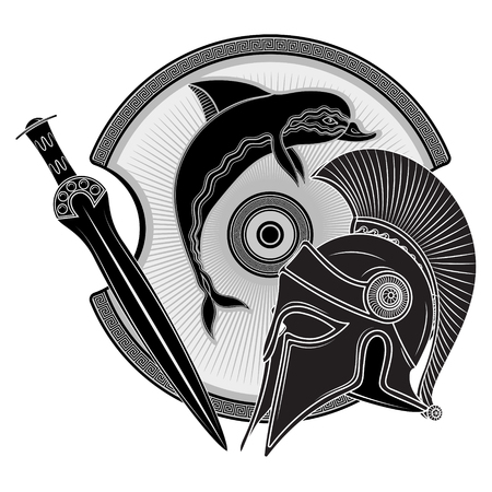 Ancient Hellenic helmet, ancient greek shield, the image of a Dolphin and greek ornament meander