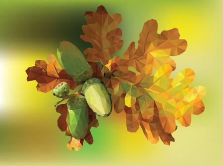 Oak leaf, vector illustration, contain gradient mash eps-10