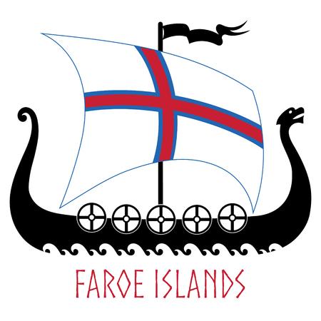Warship of the Vikings - Drakkar and Faroe Islands flag
