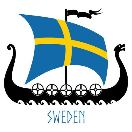 Warship of the Vikings - Drakkar and Sweden flag Reklamní fotografie