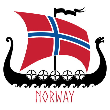 Warship of the Vikings - Drakkar and Norway flag Ilustracja