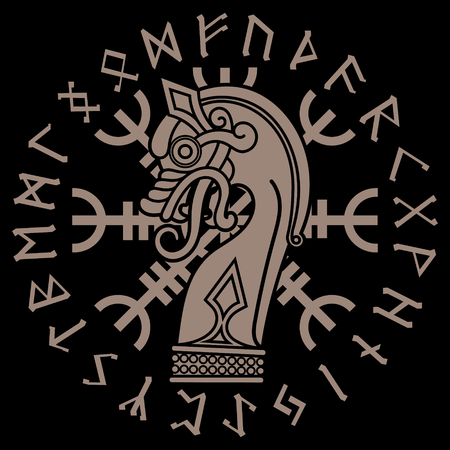 Scandinavian design. The nasal figure of the Viking ship Drakkar in the form of a dragon, Helm of Awe and runic circle
