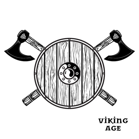 Two crossed battle Viking axes, and viking shield