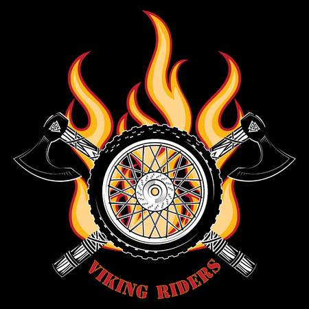 Emblem of the motorcycle club, motorcycle wheel, fire and the crossed axes of the Vikings