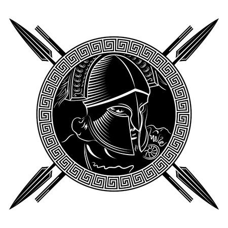 Ancient Spartan warrior, helmet, greek ornament meander and spears