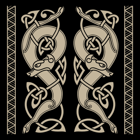 Wolfs in Celtic style and Celtic pattern, isolated on black, vector illustration