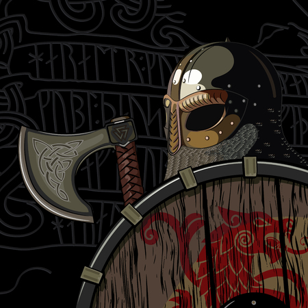 Warrior Barbarian, Viking Berserker with axe and shield, isolated on black, wector illustration