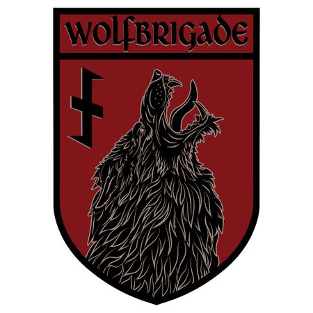 Design-Patch. Wappenschild mit Werwolf und Rune Wolfsangel, isoliert auf weiß, Vektorillustration