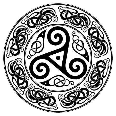 Diseño celta redondo, triskele y patrón celta.