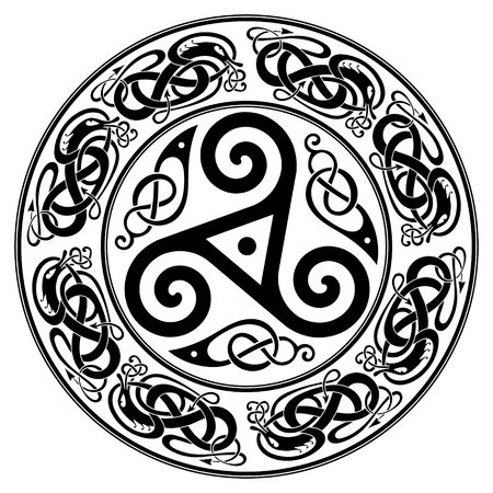 Round Celtic Design, triskele and celtic pattern Illustration