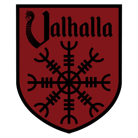 The ancient European esoteric sign - the Helm of Awe, inscription Valhalla and Heraldic shield, isolated on white, vector illustration Stock Illustratie