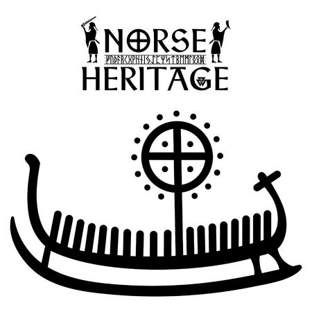 Alter Runenstein mit graviertem skandinavischen Muster, Drakkar, isoliert auf weiß, Vektorillustration Vektorgrafik