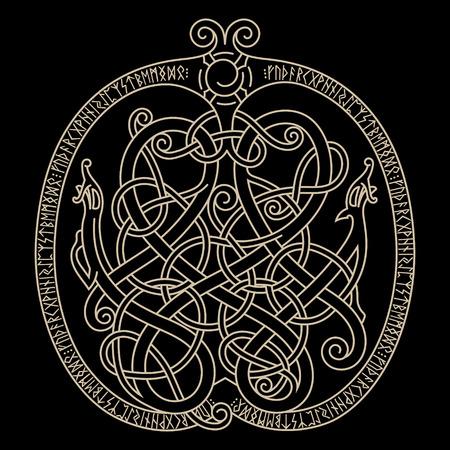 Ancien dragon décoratif de style celtique, illustration scandinave de nœuds, isolé sur noir, illustration vectorielle Vecteurs