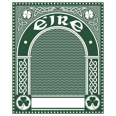 Irish Celtic design, Celtic-style clover, illustration on the theme of St. Patricks day celebration Ilustrace