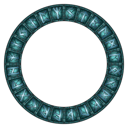 Magic Circle of stone shining Scandinavian runes Illustration