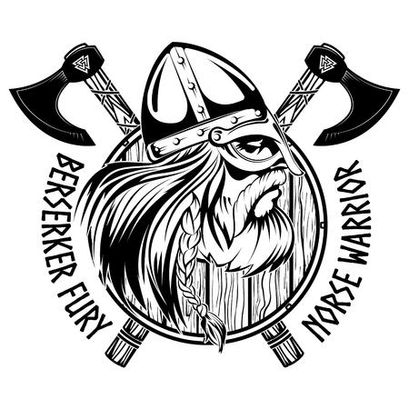 Guerriero norreno Berserker. Testa vichinga, scudo e due assi incrociati, isolati su bianco, illustrazione vettoriale