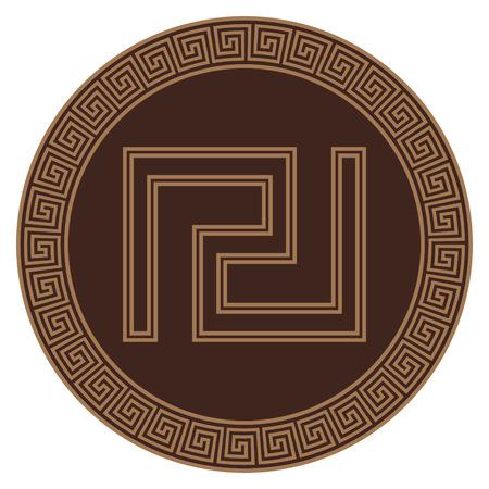 Ancient Greece Shield with greek ornament meander Reklamní fotografie - 122682447
