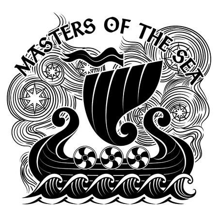 An ancient Scandinavian image of a Viking ship Drakkar, isolated on white, vector illustration Ilustrace