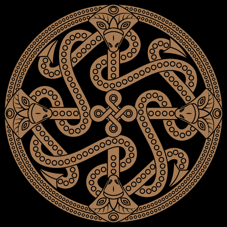 Ancient decorative dragon in celtic style, scandinavian knot-work illustration