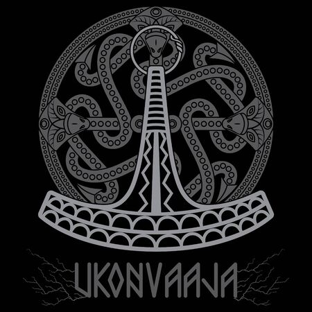 Ukonvasara - Ukko hammer or Ukonkirves - Ukko Axe, is the symbol and magikal weapon of the Finnish Thunder God Ukko Illustration