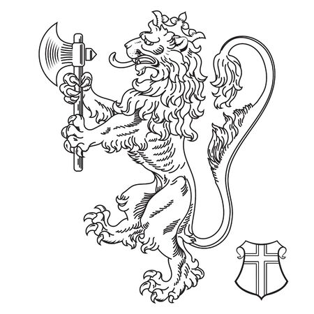 A medieval heraldic coat of arms, heraldic lion, heraldic lion silhouette, crowned lion holding an axe in its front paws Illustration