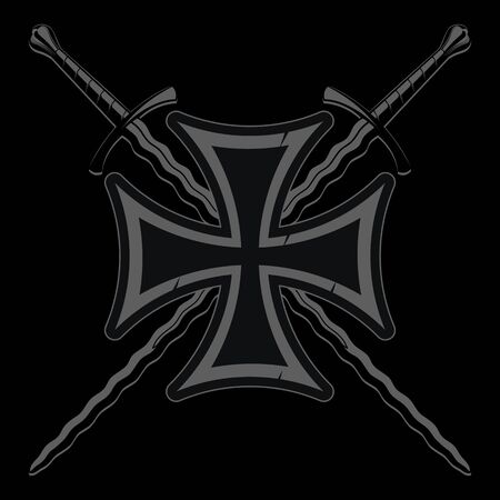 Iron cross and two medieval knight crossed Flame-bladed swords Illustration