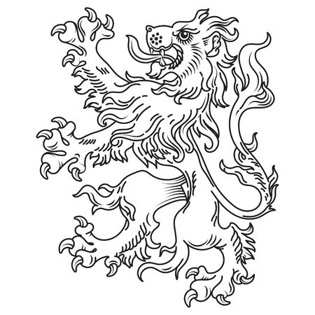 A medieval heraldic coat of arms, heraldic lion, heraldic lion silhouette