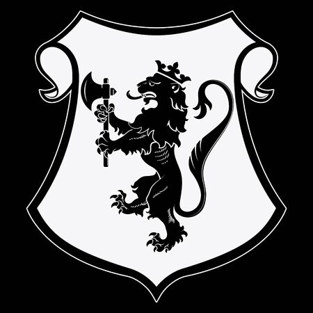 Heraldic coat of arms. Heraldic lion silhouette, heraldic shield with a crowned lion holding an axe in its front paws