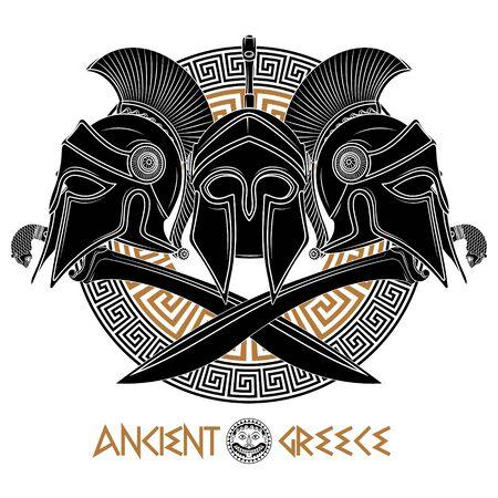 Antiker hellenischer Helm, zwei gekreuzte antike griechische Schwerter und griechische Ornamentmäander