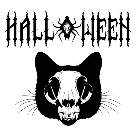 Gothic inscription Halloween with spider and cobweb. Cat skull. Samhain design
