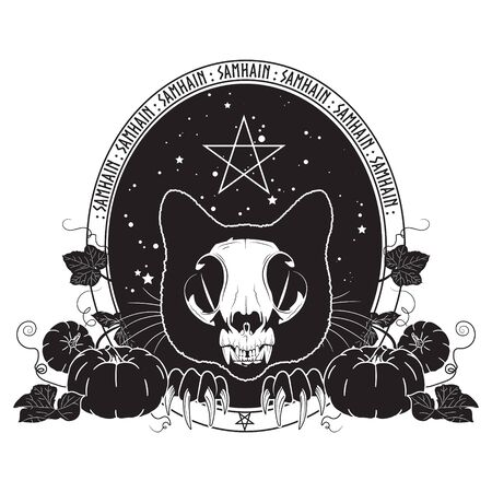 Halloween design. Cat skull against the starry sky and branches and leaves of pumpkin. Samhain design. Illustration