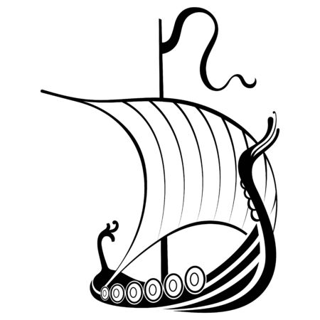 Viking ship sailing. Drakkar with a dragons head. Warship of the Vikings Imagens - 131645207