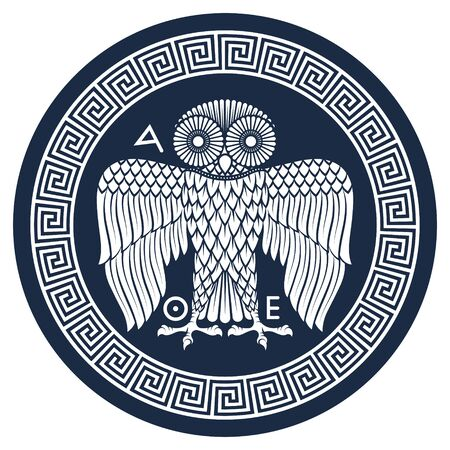 Ancient Greek shield with the image of an Owl and classical Greek meander ornament, vintage illustration Vettoriali