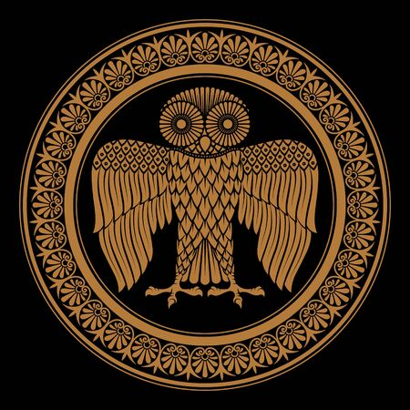 Ancient Greek shield with the image of an Owl and classical Greek floral ornament, vintage illustration Archivio Fotografico - 132360453