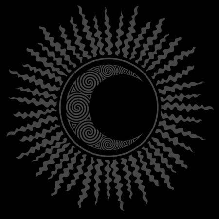 Black Hole Sun e luna crescente celtica, design. Design dell'eclissi solare