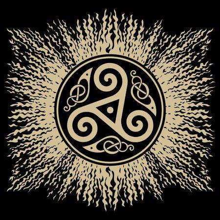 The Celtic knot Triskel. Celtic Design, mandala, ethnic design Vettoriali