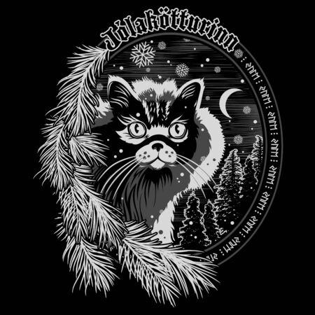 Die Weihnachtskatze von Island - The Yule Cat - Jolakotturinn, isländische mythologische Figur. Weihnachtsdesign