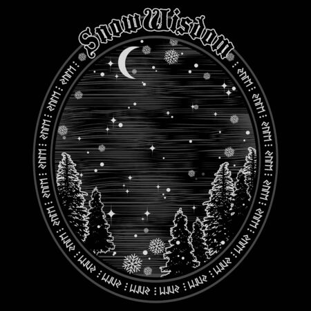 Winter forest on the background of starry sky, Crescent moon and snowflakes. The design on the Celtic holiday of Yule and Christmas