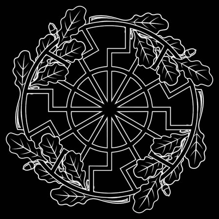 The ancient European esoteric sign - the black sun, and oak leaf wreath, isolated on black, vector illustration
